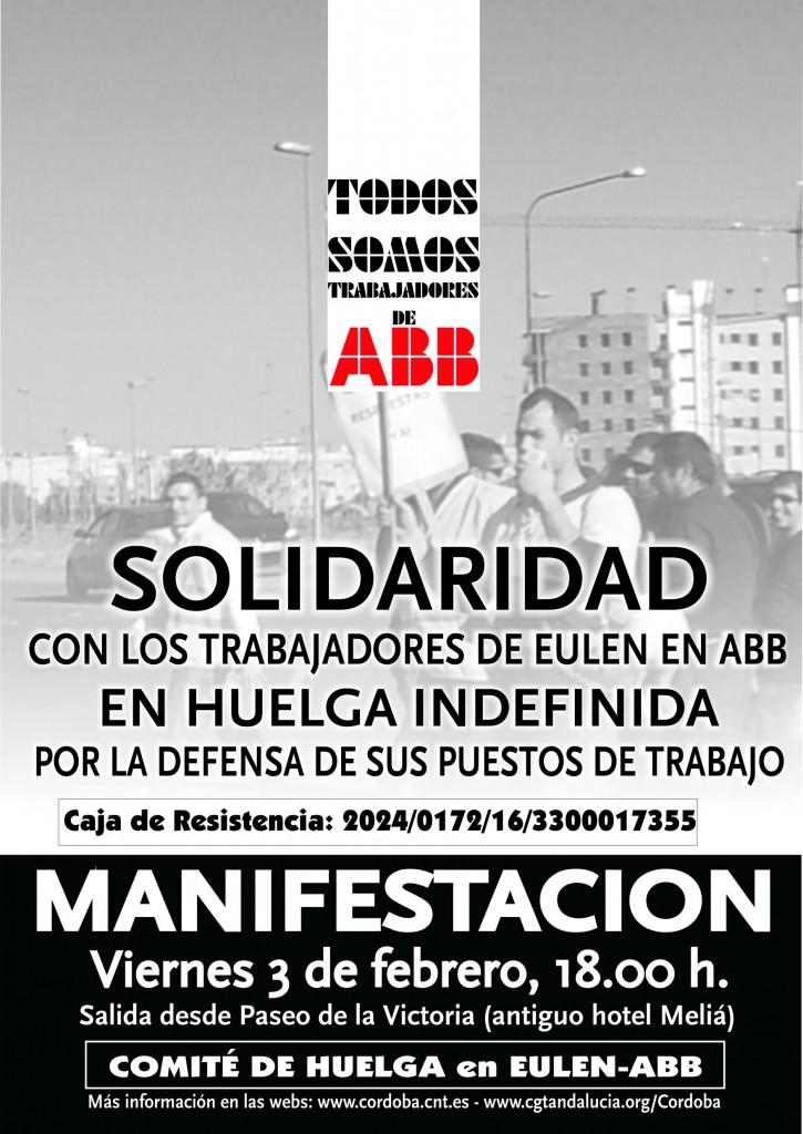 Cartel de anuncio de la manifestación del 3 de febrero en apoyo a los trabajadores de Eulen en huelga